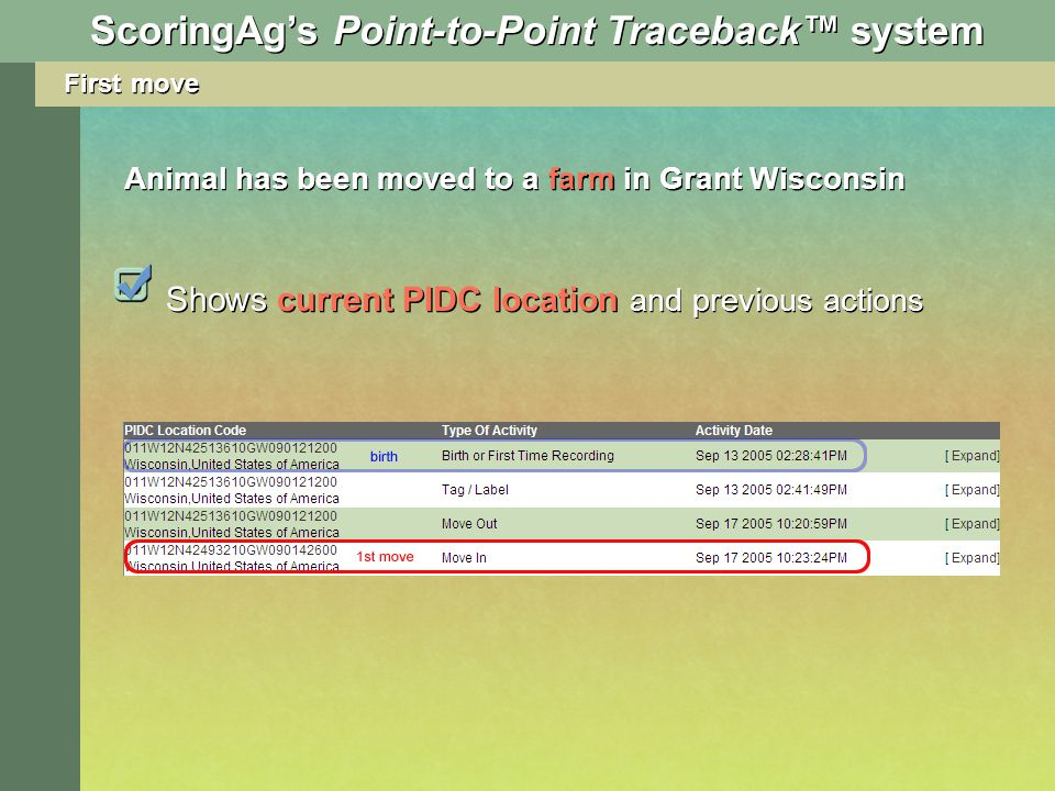 First move Shows current PIDC location and previous actions Animal has been moved to a farm in Grant Wisconsin ScoringAgs Point-to-Point Traceback sys