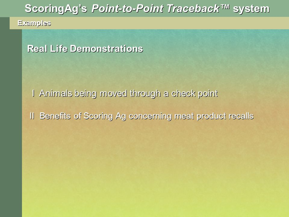 Examples Real Life Demonstrations I Animals being moved through a check point II Benefits of Scoring Ag concerning meat product recalls ScoringAgs Point-to-Point Traceback system