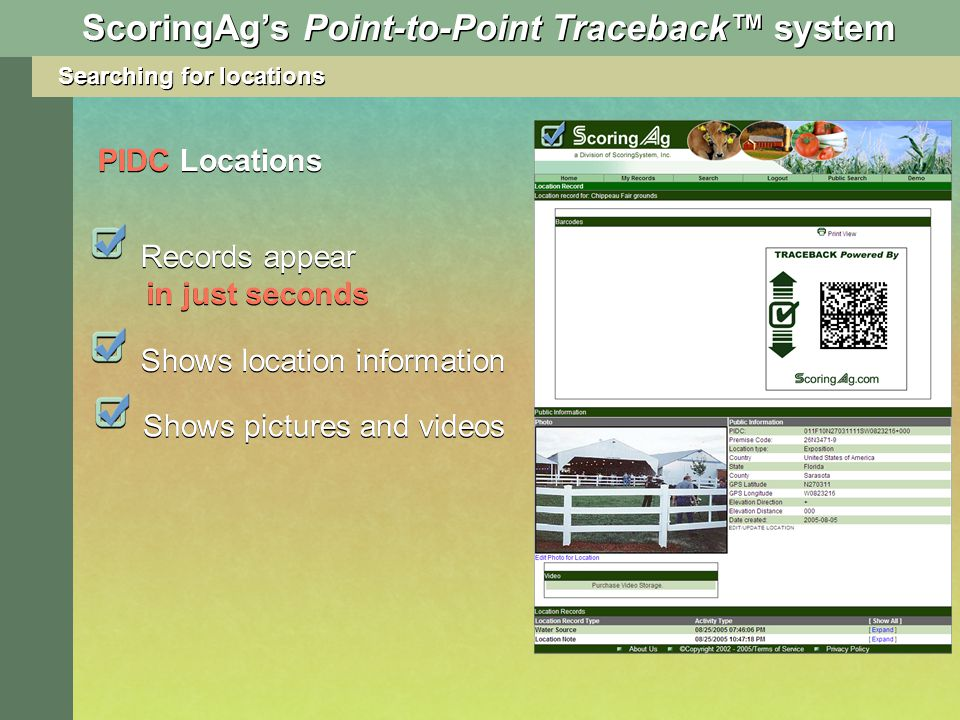 ScoringAgs Point-to-Point Traceback system Records appear in just seconds Shows location information PIDC Locations Searching for locations Shows pictures and videos