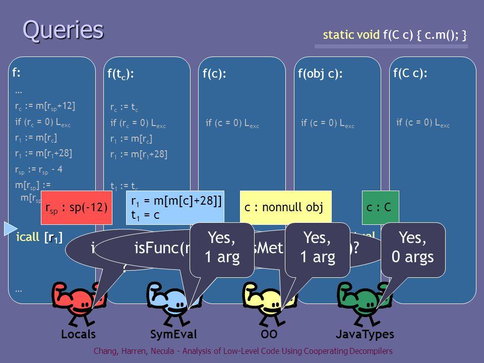 Chang, Harren, Necula - Analysis of Low-Level Code Using Cooperating Decompilers f: … r c := m[r sp +12] if (r c = 0) L exc r 1 := m[r c ] r 1 := m[r 1 +28] r sp := r sp - 4 m[r sp ] := m[r sp +16] r icall [r 1 ] … f(t c ): r c := t c if (r c = 0) L exc r 1 := m[r c ] r 1 := m[r 1 +28] t 1 := t c rt icall [r 1 ](t 1 ) f(c): if (c = 0) L exc icall mm [m[m[c]+28]] (c) f(obj c): if (c = 0) L exc invokevirtual [c, 28] () f(C c): if (c = 0) L exc c.m() Queries static void f(C c) { c.m(); } LocalsSymEval OO JavaTypes r sp : sp(-12) r 1 = m[m[c]+28]] t 1 = c c : nonnull objc : C isFunc(r 1 ) .