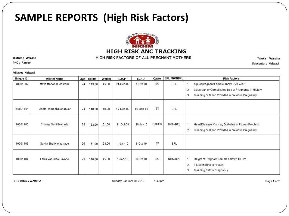 SAMPLE REPORTS (High Risk Factors)