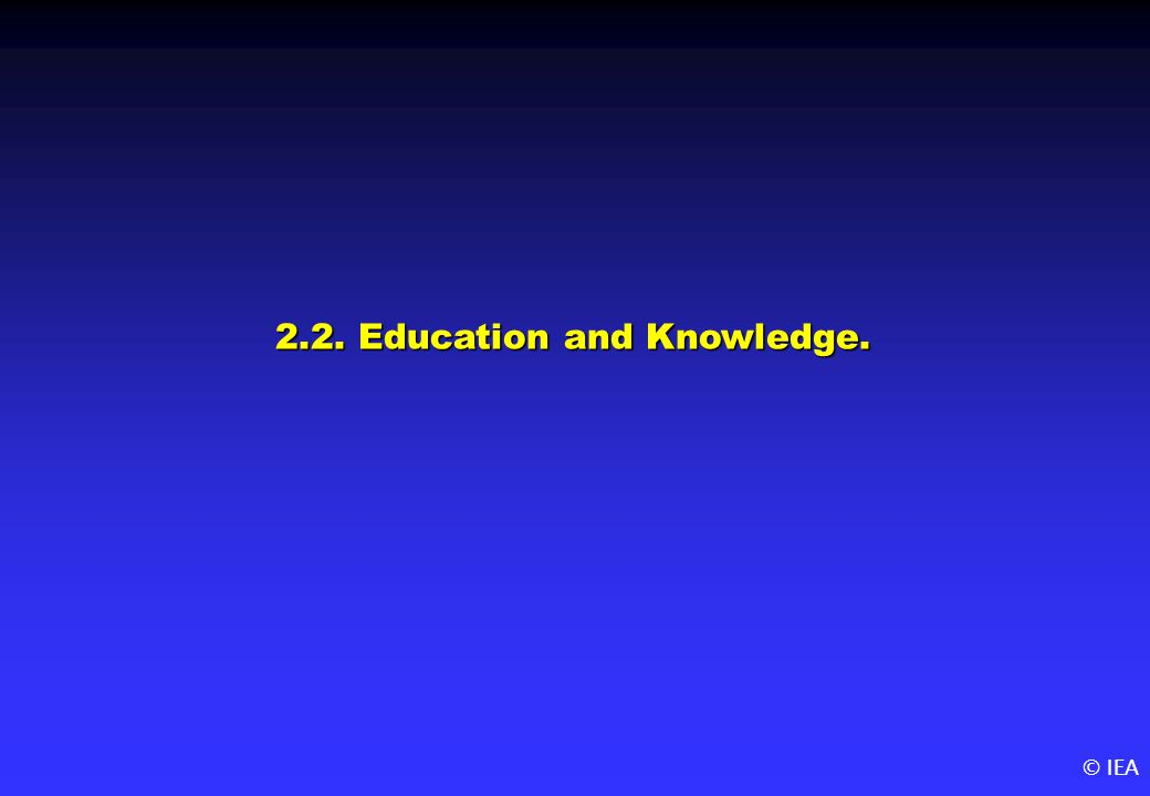 © IEA 2.2. Education and Knowledge.