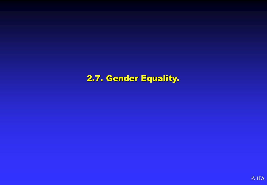 © IEA 2.7. Gender Equality.