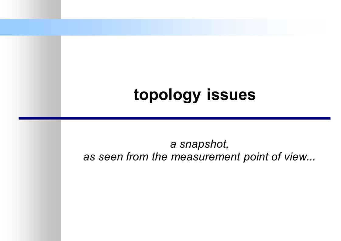 topology issues a snapshot, as seen from the measurement point of view...