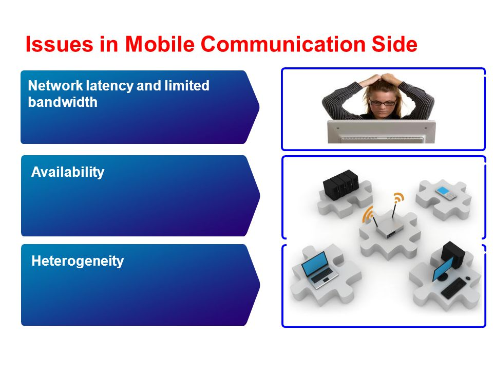 Issues in Mobile Communication Side Availability Heterogeneity Network latency and limited bandwidth