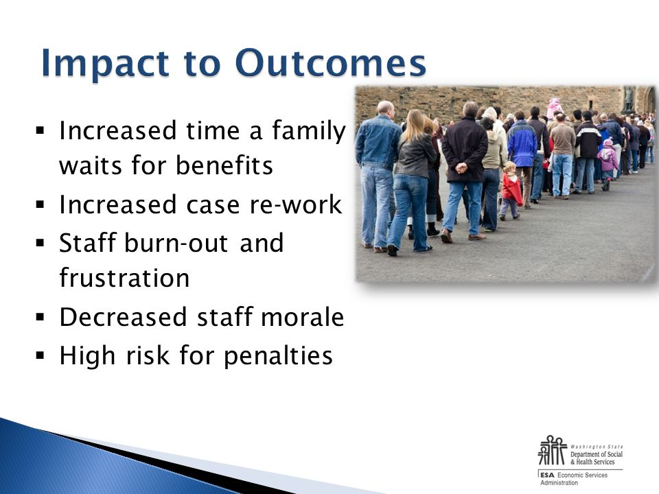 Increased time a family waits for benefits Increased case re-work Staff burn-out and frustration Decreased staff morale High risk for penalties