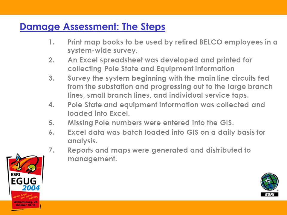 Damage Assessment: The Steps 1.Print map books to be used by retired BELCO employees in a system-wide survey.