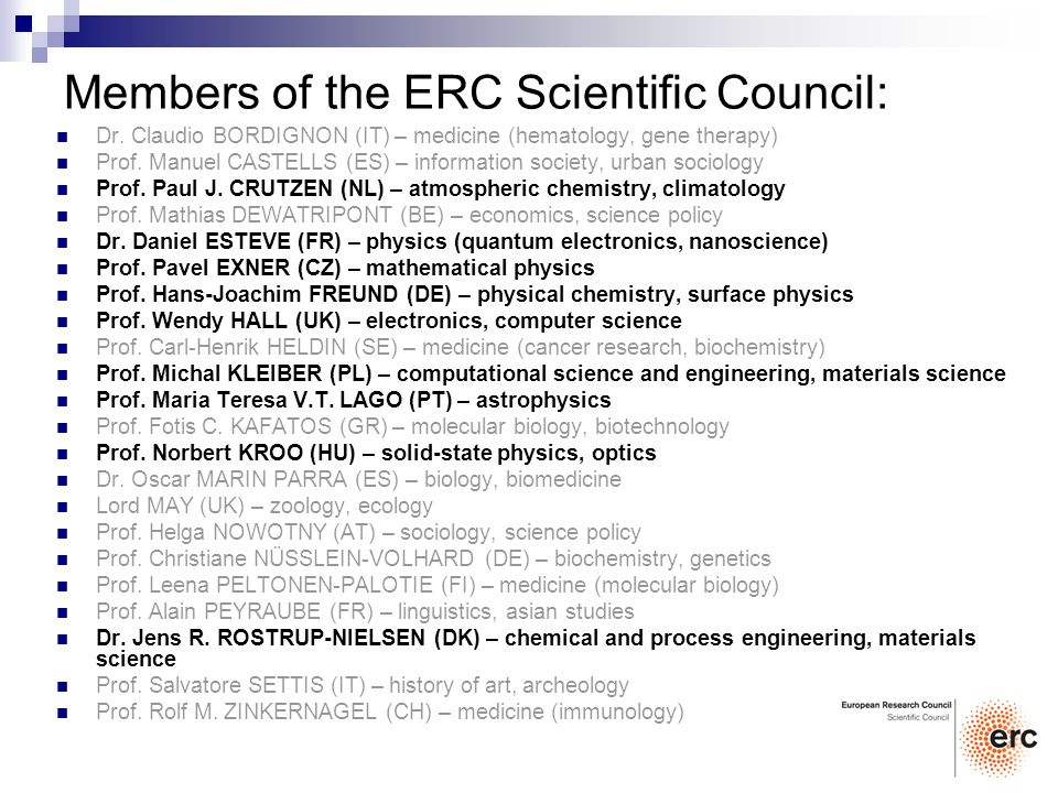 Members of the ERC Scientific Council: Dr.
