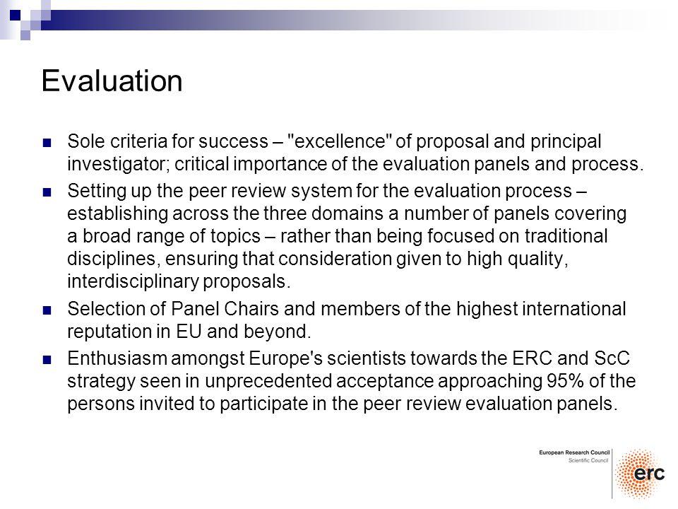 Evaluation Sole criteria for success –
