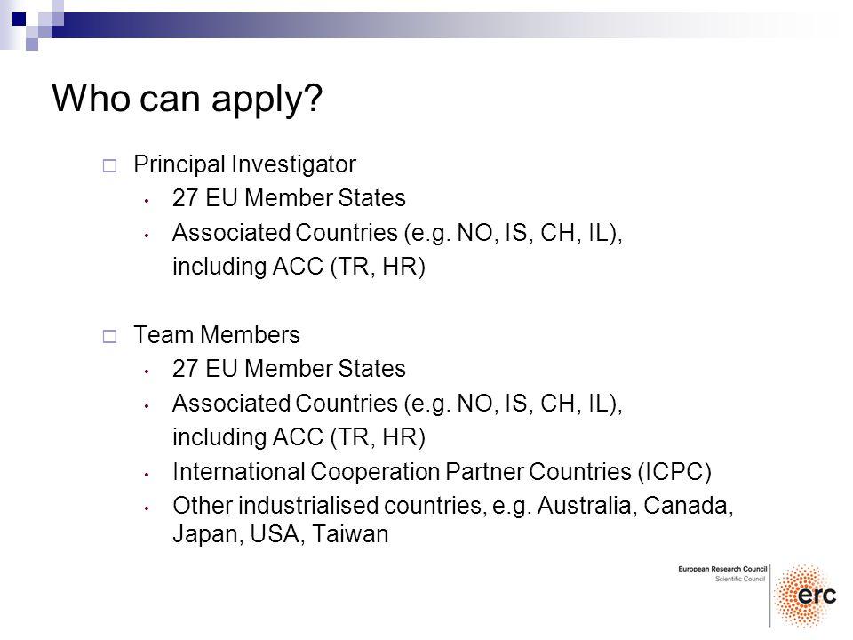 Principal Investigator 27 EU Member States Associated Countries (e.g. NO, IS, CH, IL), including ACC (TR, HR) Team Members 27 EU Member States Associa