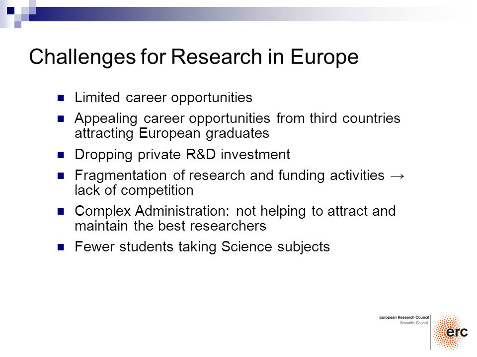 Limited career opportunities Appealing career opportunities from third countries attracting European graduates Dropping private R&D investment Fragmentation of research and funding activities lack of competition Complex Administration: not helping to attract and maintain the best researchers Fewer students taking Science subjects Challenges for Research in Europe