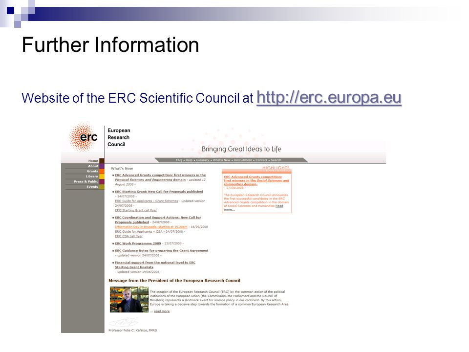 Further Information     Website of the ERC Scientific Council at
