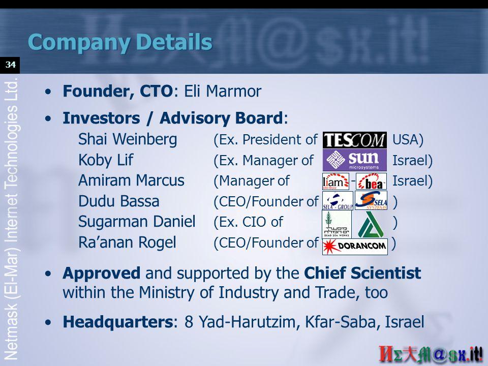 34 Founder, CTO: Eli Marmor Investors / Advisory Board: Shai Weinberg (Ex.