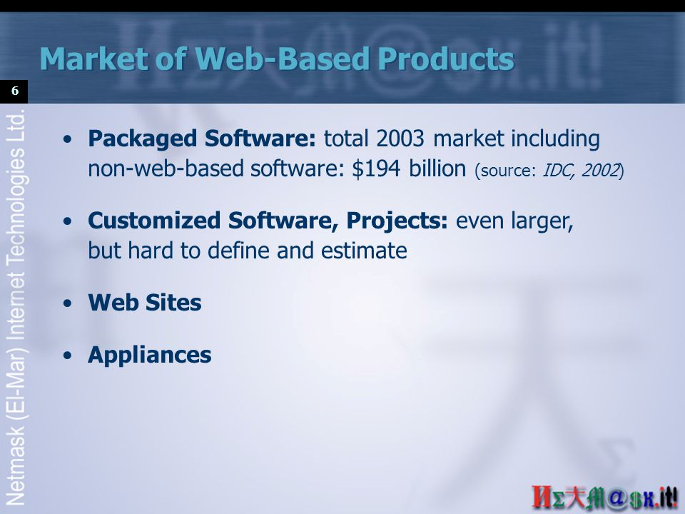 6 Packaged Software: total 2003 market including non-web-based software: $194 billion (source: IDC, 2002) Customized Software, Projects: even larger, but hard to define and estimate Web Sites Appliances Market of Web-Based Products