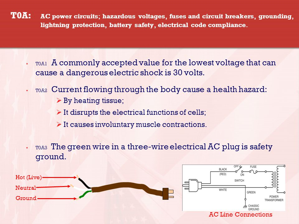 4 4 T0A: AC power circuits; hazardous voltages, fuses and circuit breakers, grounding, lightning protection, battery safety, electrical code compliance.