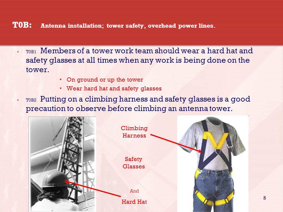 29 T0A11 Which of the following is good practice when installing ground wires on a tower for lightning protection.