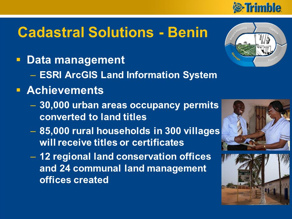 Cadastral Solutions - Benin Data management –ESRI ArcGIS Land Information System Achievements –30,000 urban areas occupancy permits converted to land