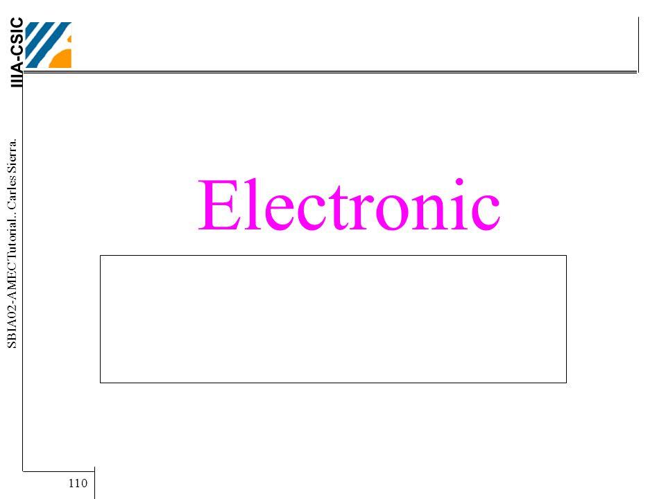 IIIA-CSIC SBIA02-AMEC Tutorial.. Carles Sierra. 110 Electronic Institutions