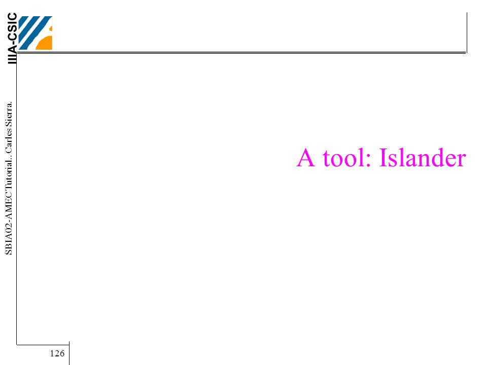 IIIA-CSIC SBIA02-AMEC Tutorial.. Carles Sierra. 126 A tool: Islander