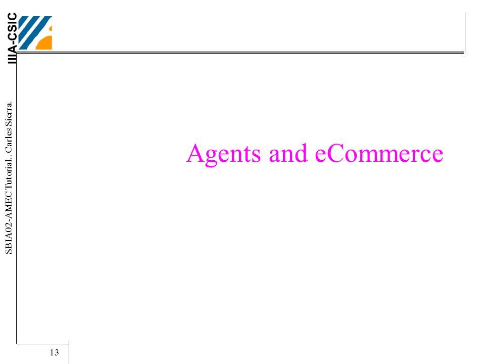 IIIA-CSIC SBIA02-AMEC Tutorial.. Carles Sierra. 13 Agents and eCommerce