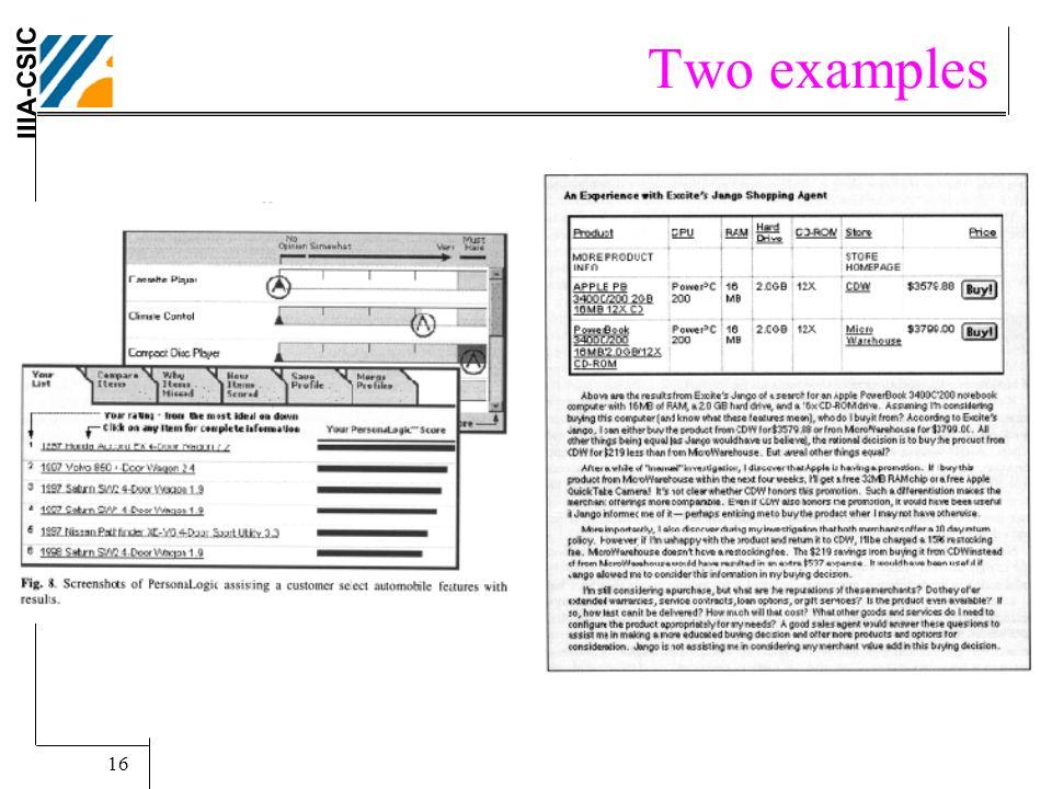 IIIA-CSIC SBIA02-AMEC Tutorial.. Carles Sierra. 16 Two examples Jango & PersonaLogic