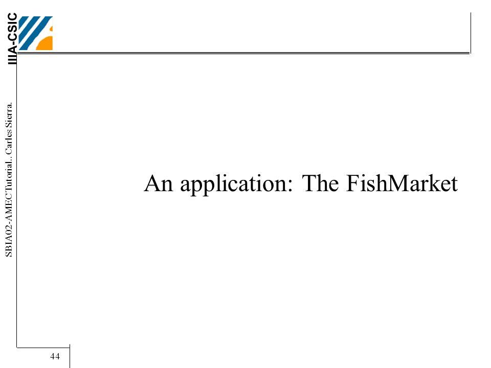 IIIA-CSIC SBIA02-AMEC Tutorial.. Carles Sierra. 44 An application: The FishMarket