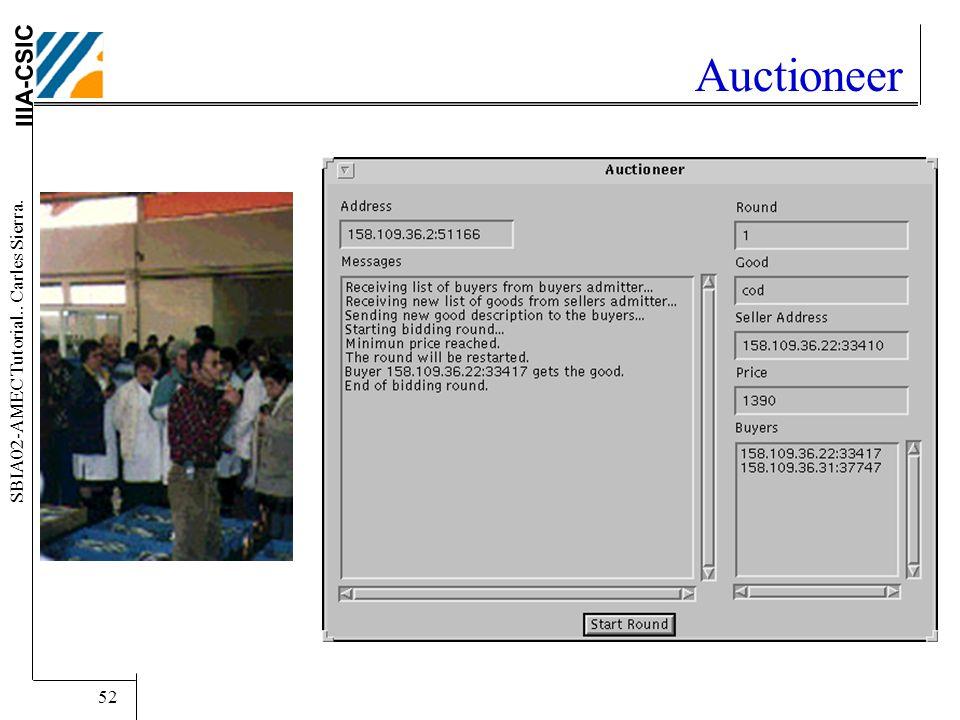 IIIA-CSIC SBIA02-AMEC Tutorial.. Carles Sierra. 52 Auctioneer