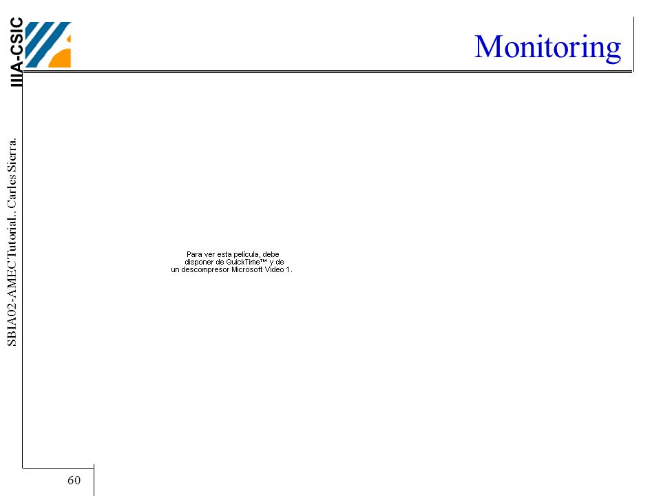 IIIA-CSIC SBIA02-AMEC Tutorial.. Carles Sierra. 60 Monitoring