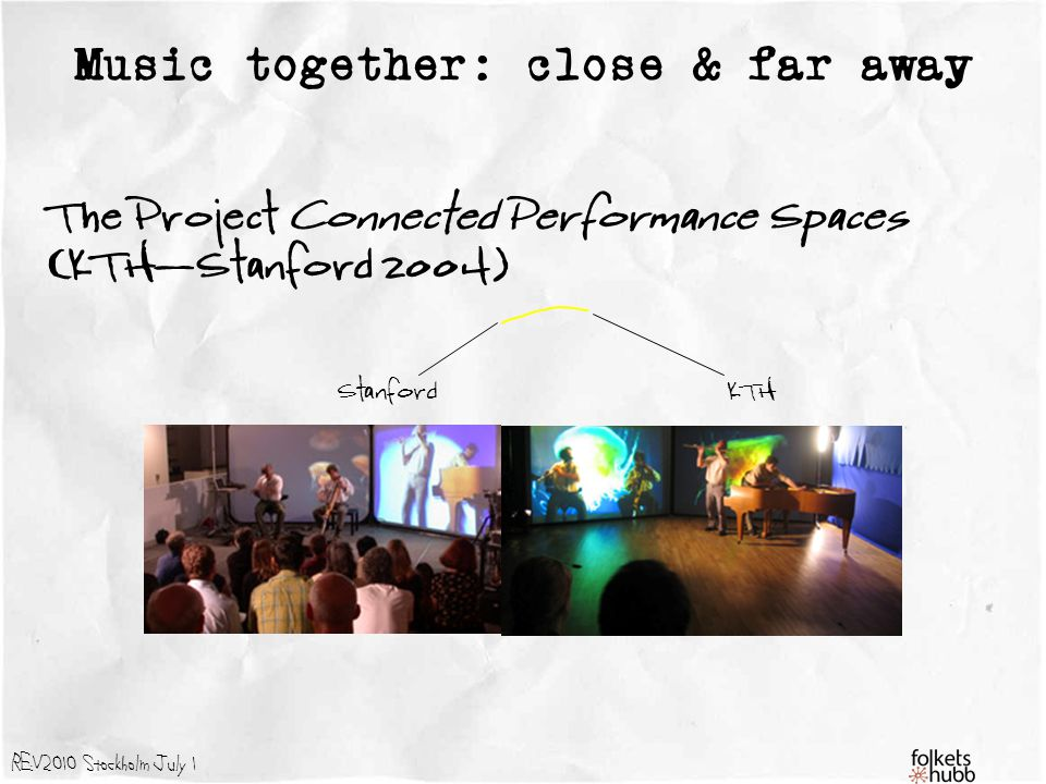 REV2010 Stockholm July 1 StanfordKTH Music together: close & far away The Project Connected Performance Spaces (KTH-Stanford 2004)