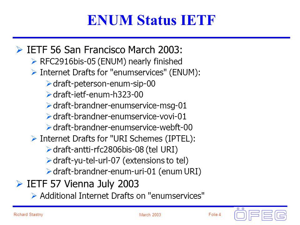 March 2003 Richard StastnyFolie 4 ENUM Status IETF IETF 56 San Francisco March 2003: RFC2916bis-05 (ENUM) nearly finished Internet Drafts for enumservices (ENUM): draft-peterson-enum-sip-00 draft-ietf-enum-h323-00 draft-brandner-enumservice-msg-01 draft-brandner-enumservice-vovi-01 draft-brandner-enumservice-webft-00 Internet Drafts for URI Schemes (IPTEL): draft-antti-rfc2806bis-08 (tel URI) draft-yu-tel-url-07 (extensions to tel) draft-brandner-enum-uri-01 (enum URI) IETF 57 Vienna July 2003 Additional Internet Drafts on enumservices