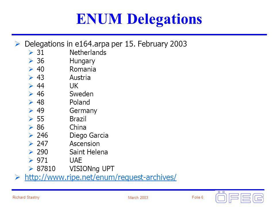 March 2003 Richard StastnyFolie 6 ENUM Delegations Delegations in e164.arpa per 15.