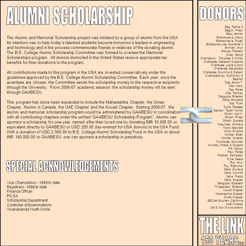 The Alumni and Memorial Scholarship project was initiated by a group of alumni from the USA. Its intention was to help todays talented students become