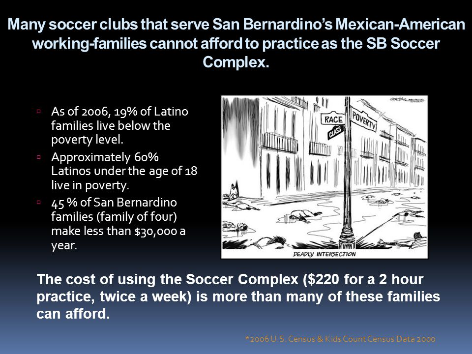 Many soccer clubs that serve San Bernardinos Mexican-American working-families cannot afford to practice as the SB Soccer Complex. As of 2006, 19% of