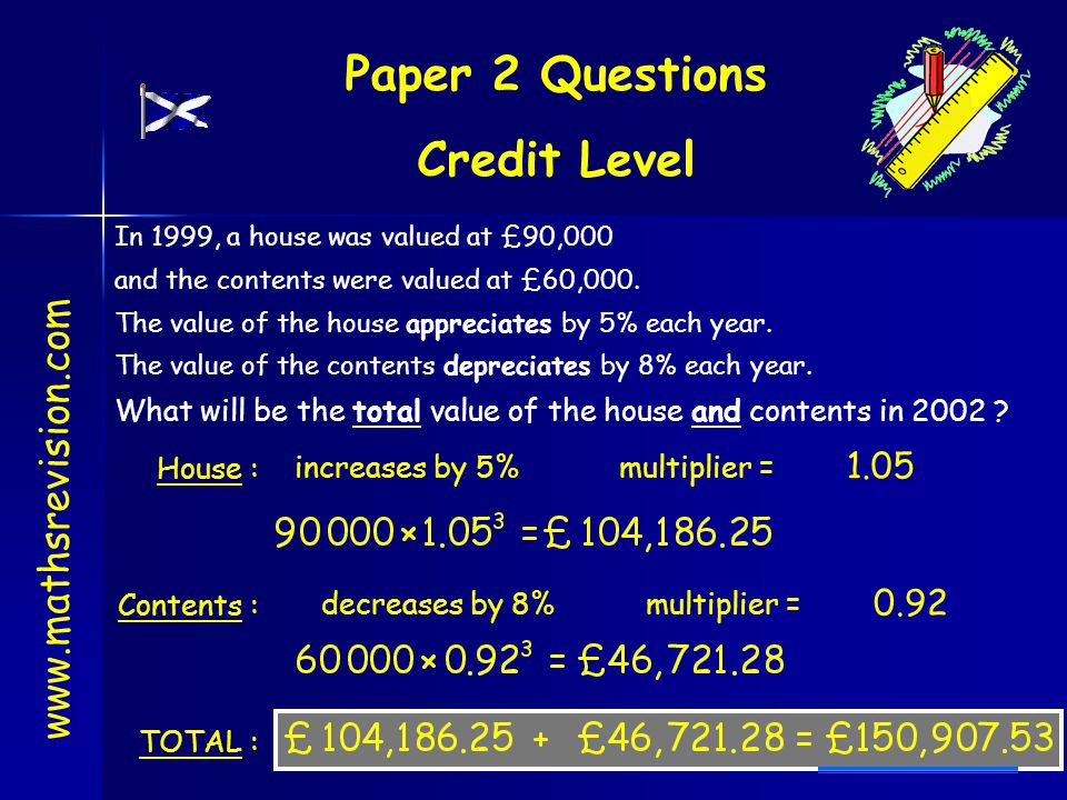 Paper 2 Questions Credit Level www.mathsrevision.com In 1999, a house was valued at £90,000 and the contents were valued at £60,000. The value of the