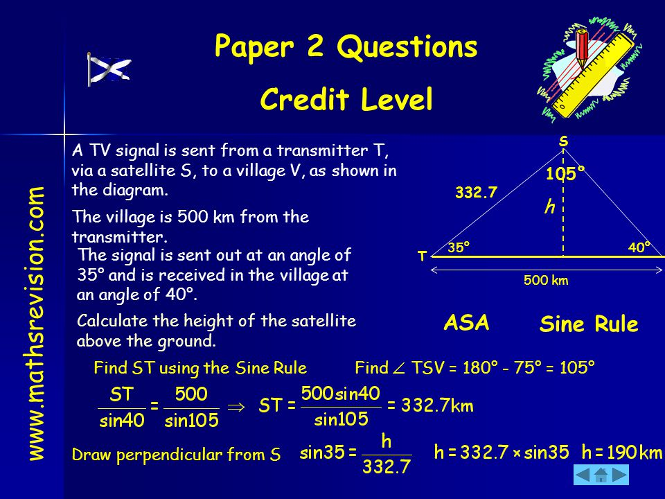 Paper 2 Questions Credit Level www.mathsrevision.com A TV signal is sent from a transmitter T, via a satellite S, to a village V, as shown in the diag
