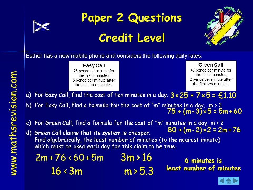 Paper 2 Questions Credit Level www.mathsrevision.com Easy Call 25 pence per minute for the first 3 minutes 5 pence per minute after the first three mi
