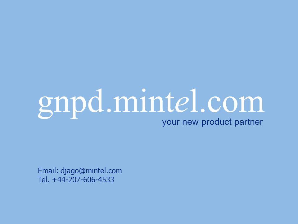 gnpd.mintel.com your new product partner Email: djago@mintel.com Tel. +44-207-606-4533