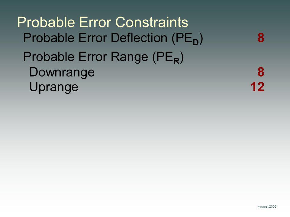 August 2003 Probable Error Deflection (PE D ) 8 Probable Error Constraints Probable Error Range (PE R ) Downrange8 Uprange12