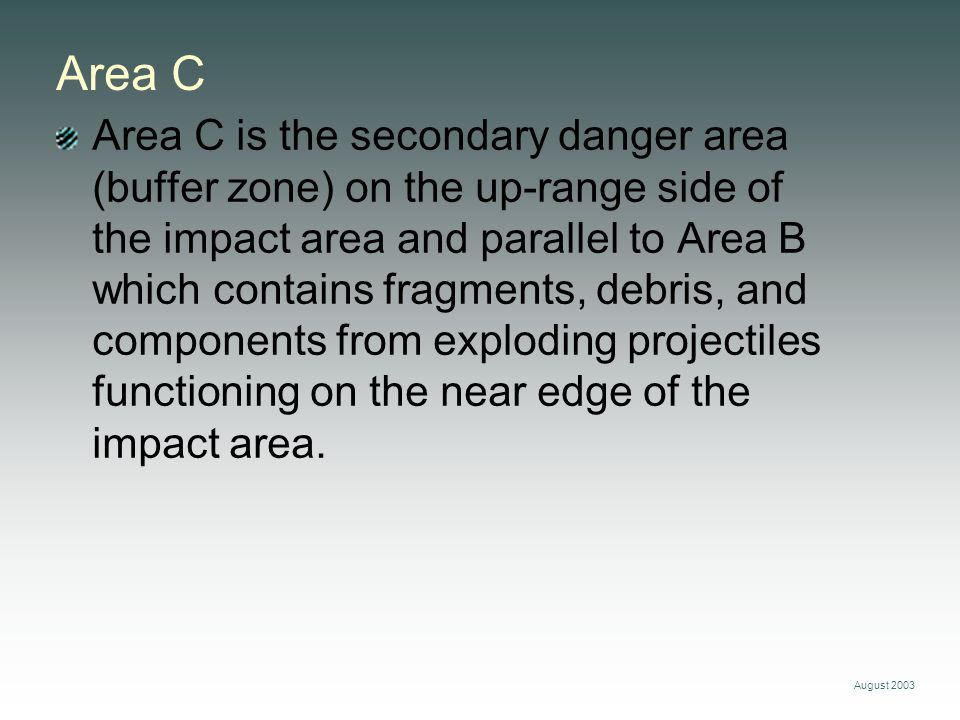 August 2003 Area C Area C is the secondary danger area (buffer zone) on the up-range side of the impact area and parallel to Area B which contains fra