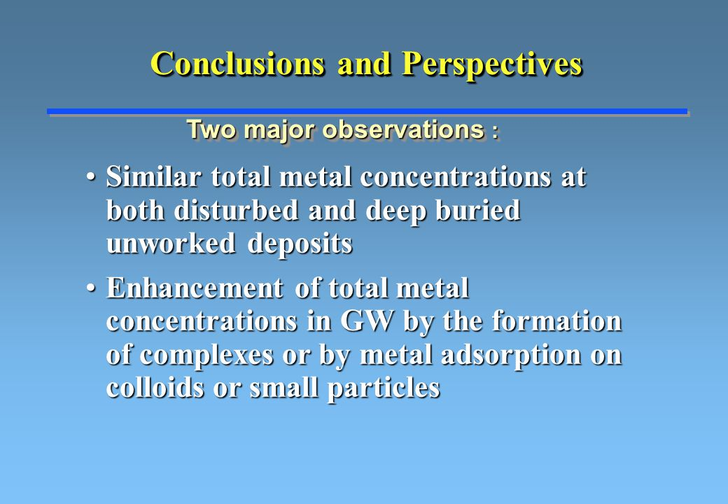 Conclusions and Perspectives Similar total metal concentrations at both disturbed and deep buried unworked depositsSimilar total metal concentrations at both disturbed and deep buried unworked deposits Enhancement of total metal concentrations in GW by the formation of complexes or by metal adsorption on colloids or small particlesEnhancement of total metal concentrations in GW by the formation of complexes or by metal adsorption on colloids or small particles Two major observations :