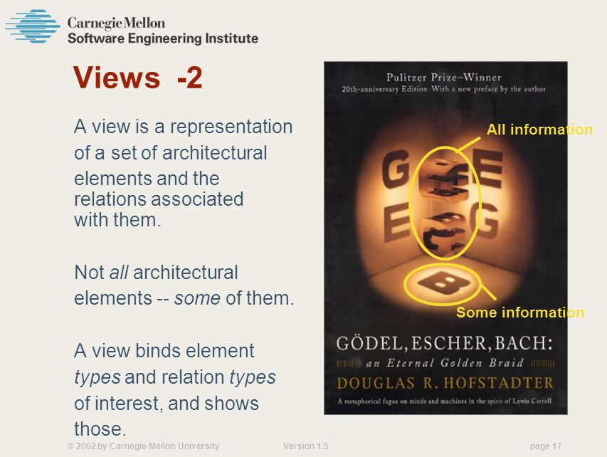© 2002 by Carnegie Mellon University Version 1.5 page 17 Views -2 A view is a representation of a set of architectural elements and the relations associated with them.