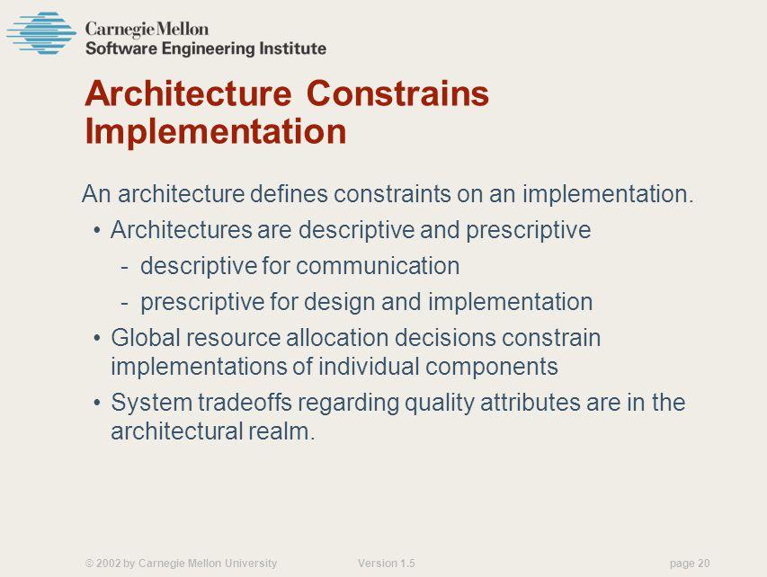 © 2002 by Carnegie Mellon University Version 1.5 page 20 Architecture Constrains Implementation An architecture defines constraints on an implementation.