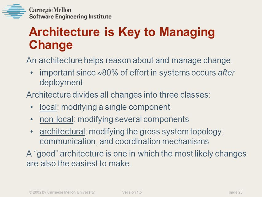 © 2002 by Carnegie Mellon University Version 1.5 page 23 Architecture is Key to Managing Change An architecture helps reason about and manage change.