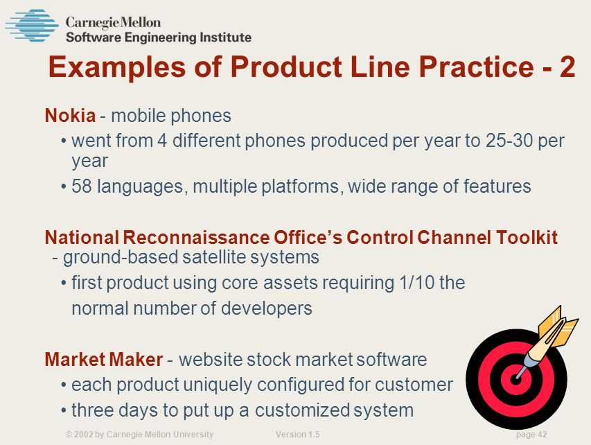 © 2002 by Carnegie Mellon University Version 1.5 page 42 Examples of Product Line Practice - 2 Nokia - mobile phones went from 4 different phones produced per year to 25-30 per year 58 languages, multiple platforms, wide range of features National Reconnaissance Offices Control Channel Toolkit - ground-based satellite systems first product using core assets requiring 1/10 the normal number of developers Market Maker - website stock market software each product uniquely configured for customer three days to put up a customized system