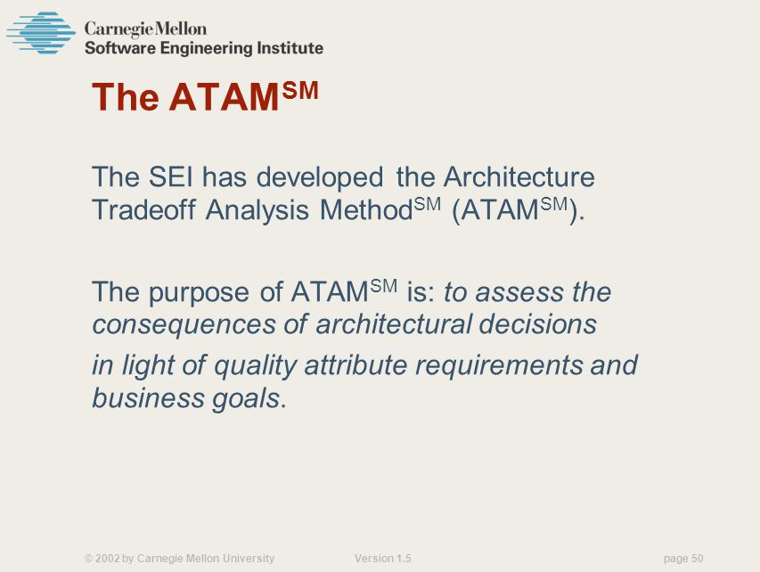 © 2002 by Carnegie Mellon University Version 1.5 page 50 The ATAM SM The SEI has developed the Architecture Tradeoff Analysis Method SM (ATAM SM ).
