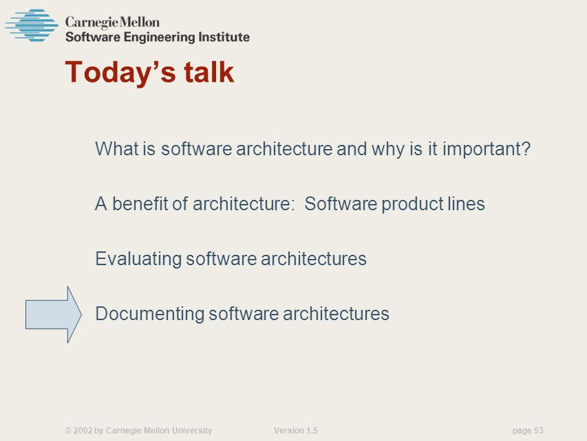 © 2002 by Carnegie Mellon University Version 1.5 page 53 Todays talk What is software architecture and why is it important.