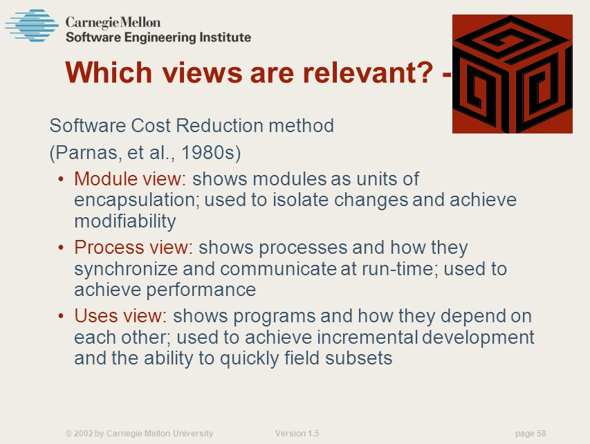 © 2002 by Carnegie Mellon University Version 1.5 page 58 Which views are relevant.
