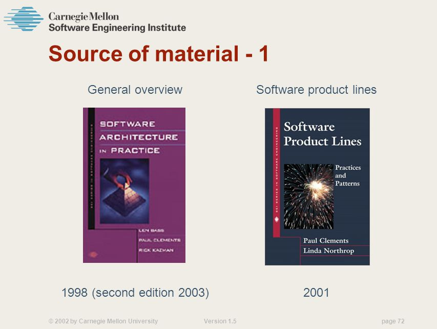 © 2002 by Carnegie Mellon University Version 1.5 page 72 Source of material - 1 General overview 1998 (second edition 2003) Software product lines 2001
