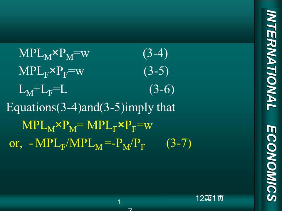 INTERNATIONAL ECONOMICS 03/01/20 COPY RIGHT 12 1 MPL M ×P M =w (3-4) MPL F ×P F =w (3-5) L M +L F =L (3-6) Equations(3-4)and(3-5)imply that MPL M ×P M
