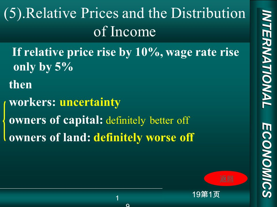 INTERNATIONAL ECONOMICS 03/01/20 COPY RIGHT 19 1 (5).Relative Prices and the Distribution of Income If relative price rise by 10%, wage rate rise only